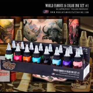 ТАТУ КРАСКИ WORLD FAMOUS INK 16 COLOR INK SET #2